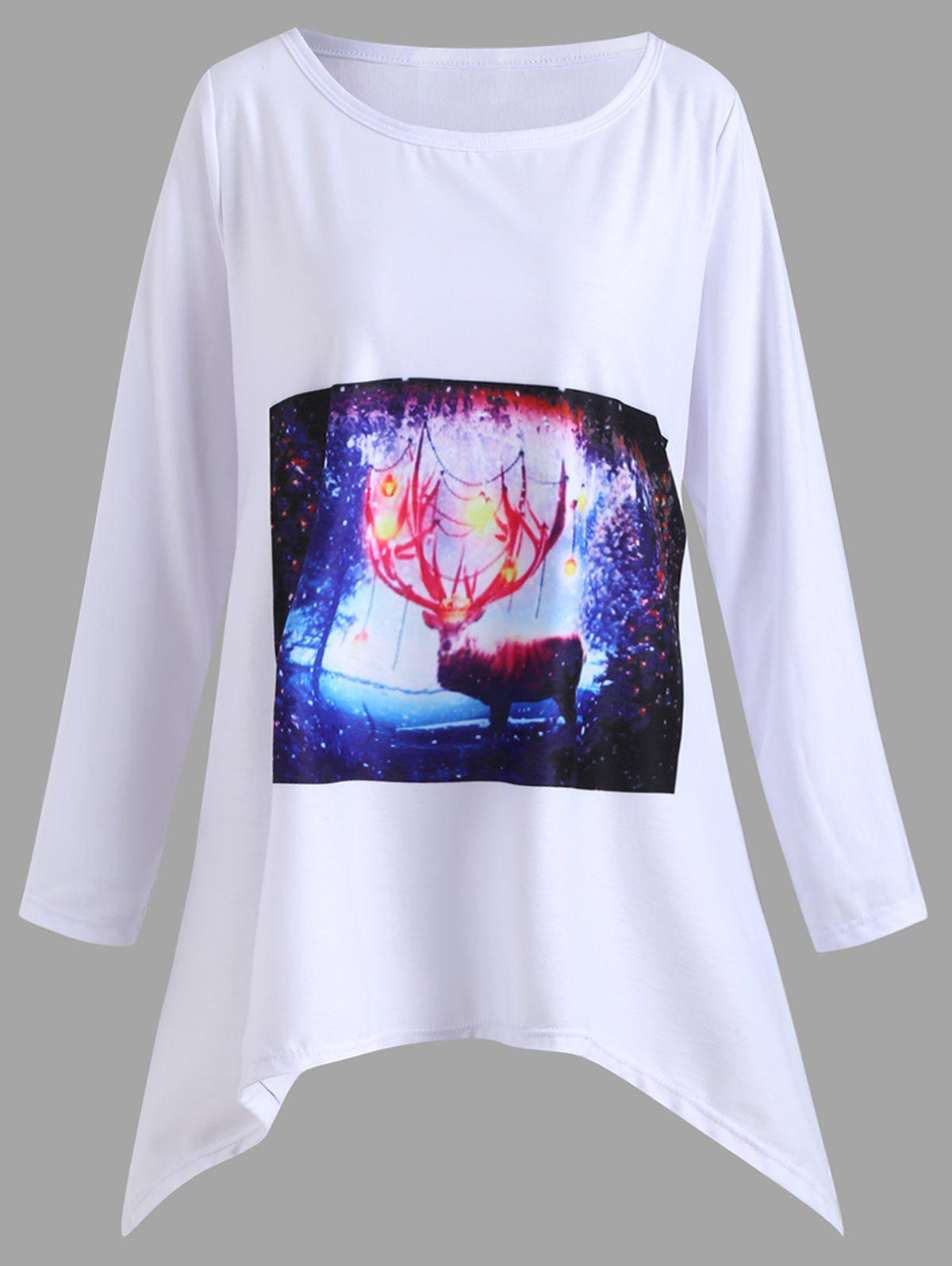 Christmas Plus Size Deer Graphic Handkerchief T-shirt christmas spirit graphic plus size raglan sleeve t shirt