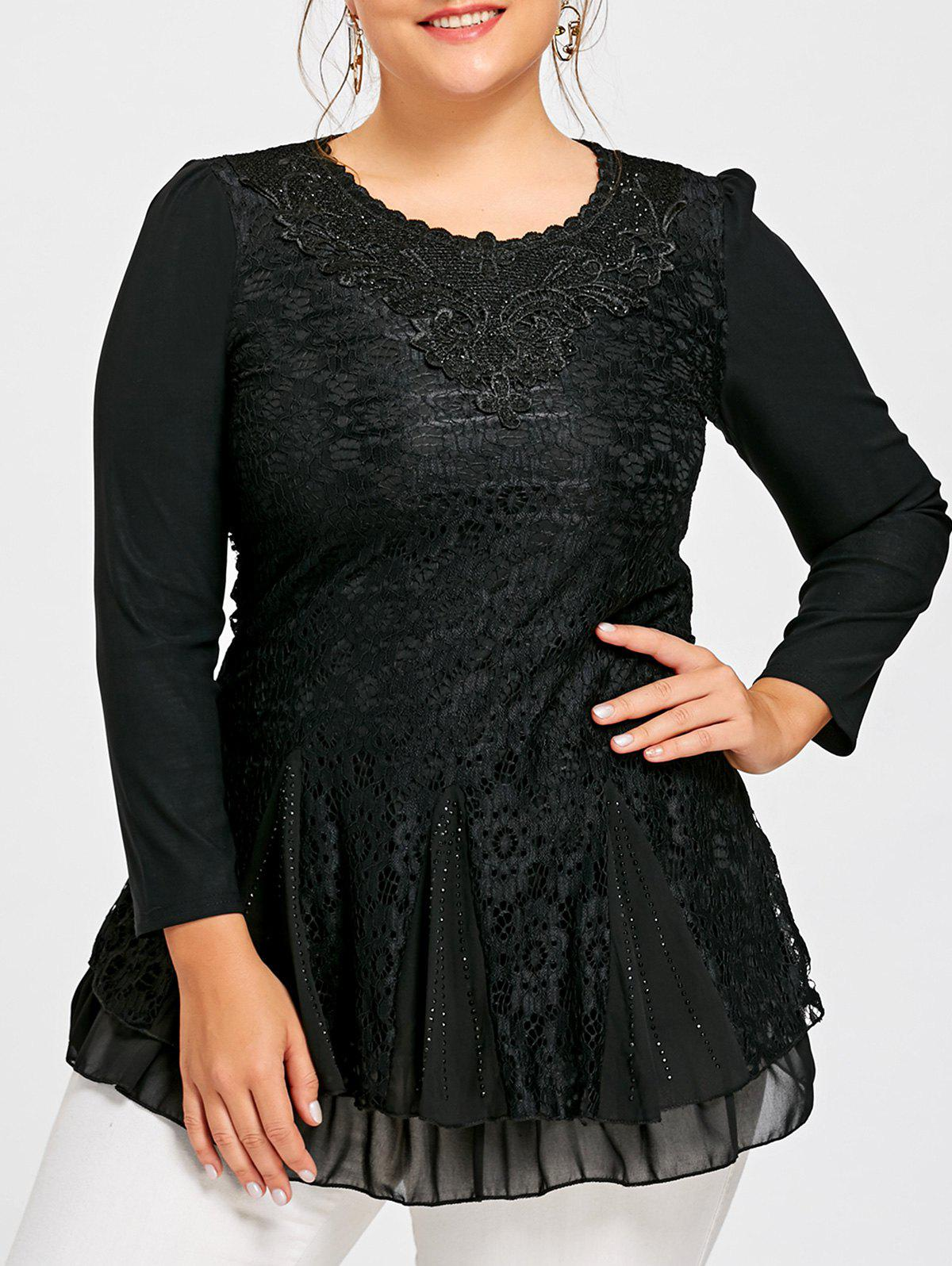 Plus Size Sequine Layered Lace Blouse