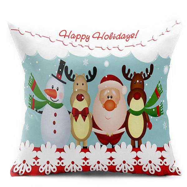 Christmas Elk Snowman Santa Claus Double Side Printed Pillowcase santa claus elk cart snowflakes printed pillow case