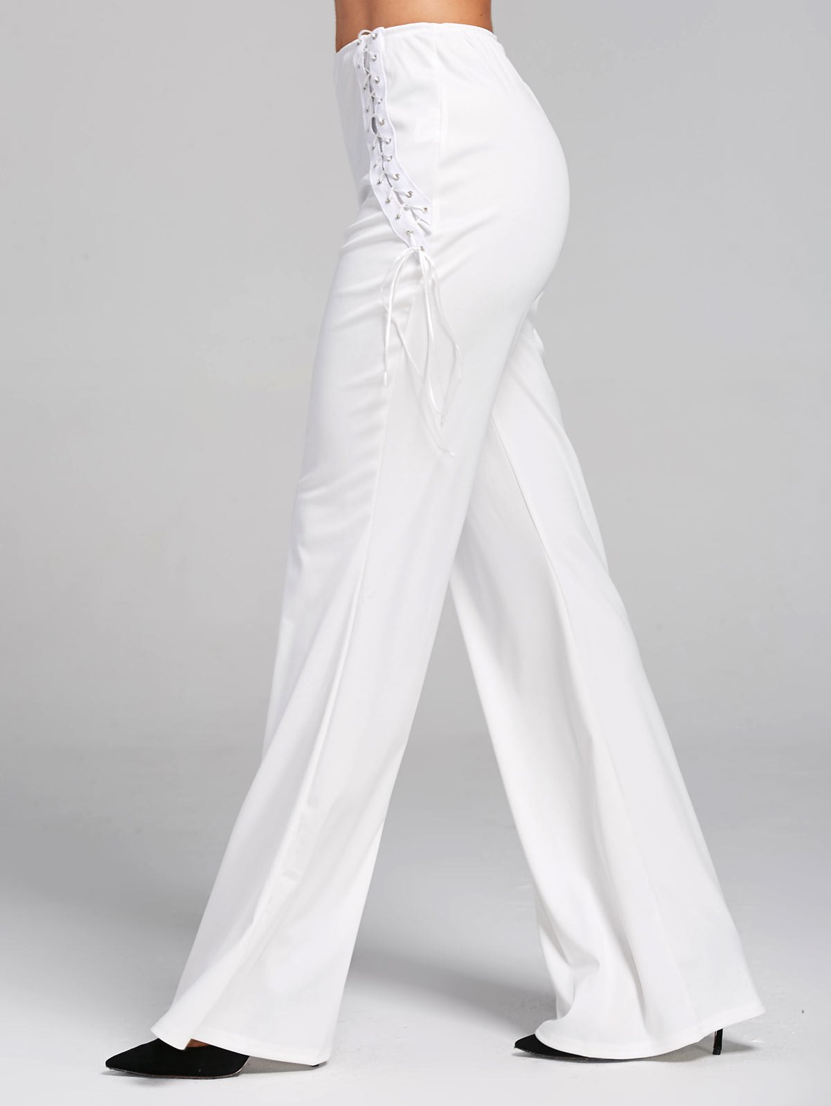 High Waist Criss Cross Lace Up Flare Pants - WHITE S