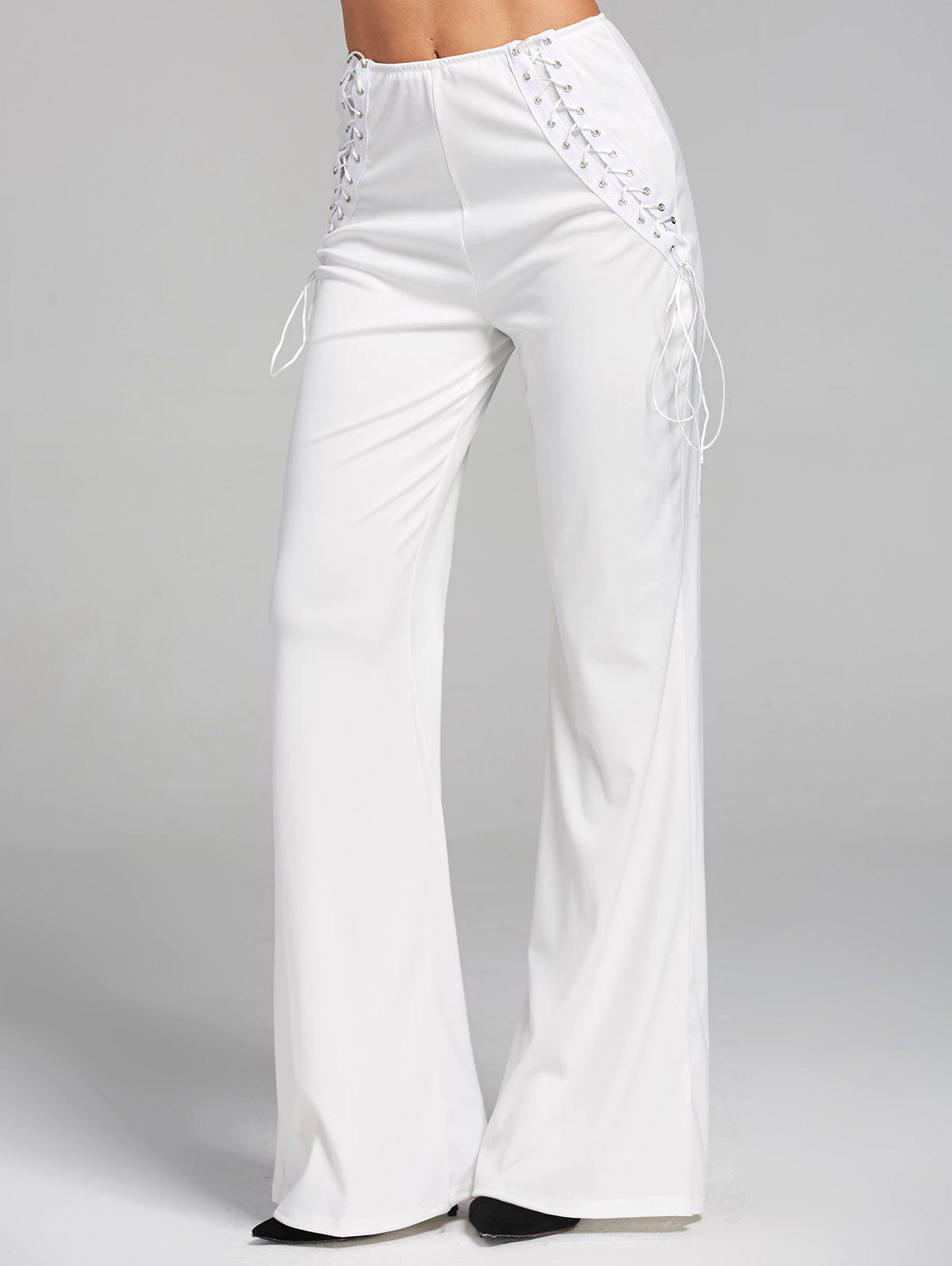 High Waist Criss Cross Lace Up Flare Pants - WHITE M