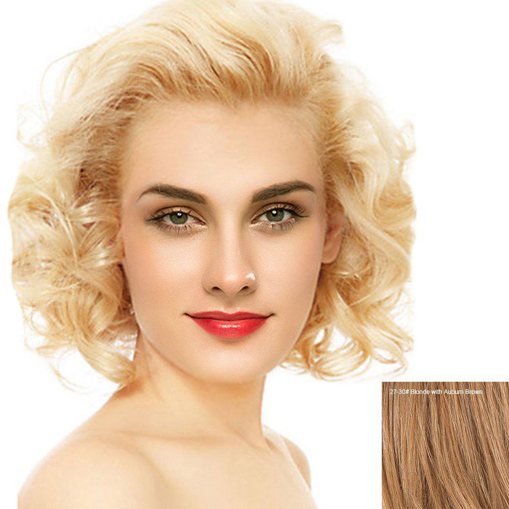 Short Free Part Fluffy Curly Lace Front Human Hair Wig - BLONDE/AUBURN BROWN