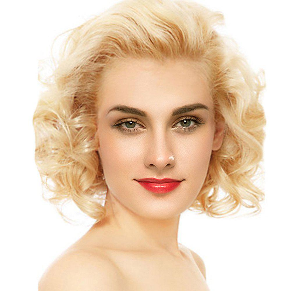 Short Free Part Fluffy Curly Lace Front Human Hair Wig - GOLDEN BROWN/BLONDE