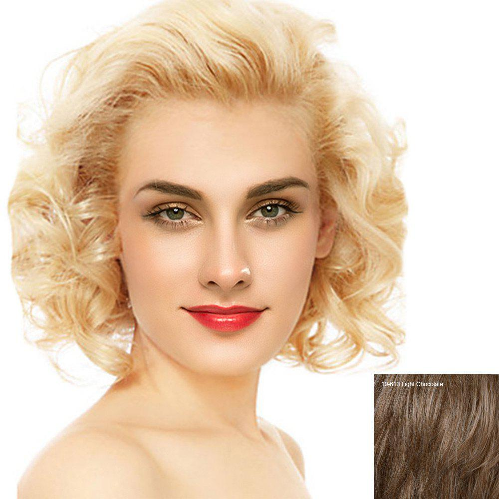 Short Free Part Fluffy Curly Lace Front Human Hair Wig - LIGHT CHOCOLATE