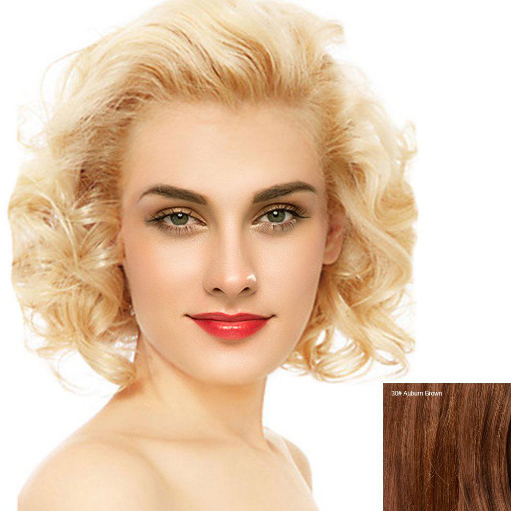 Short Free Part Fluffy Curly Lace Front Human Hair Wig - AUBURN BROWN