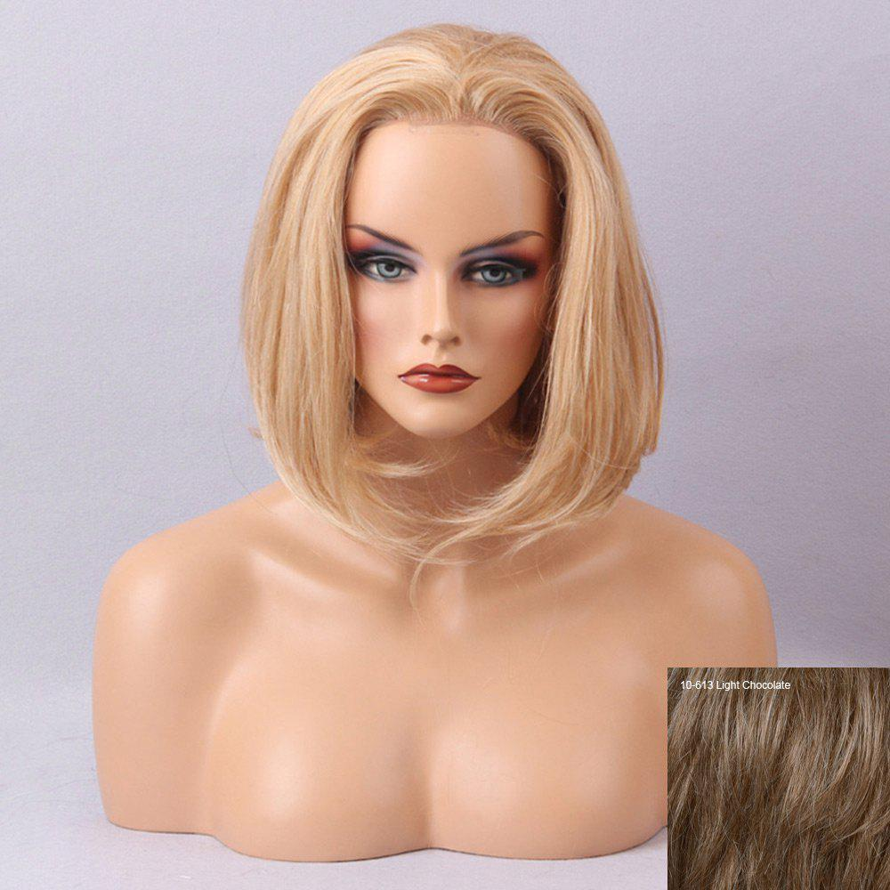 Free Part Straight Short Bob Lace Front Human Hair Wig - LIGHT CHOCOLATE