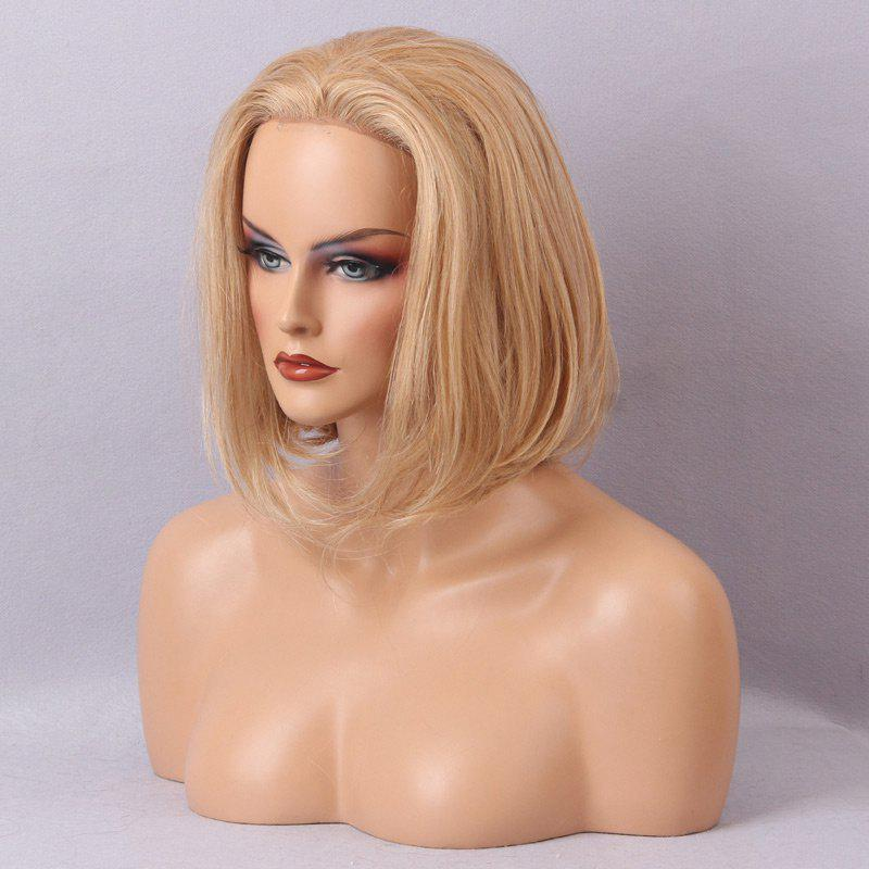 Free Part Straight Short Bob Lace Front Human Hair Wig - BLONDE