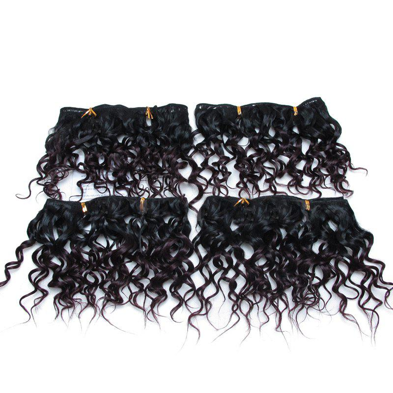 4Pcs Fluffy Short Water Wave Synthetic Hair Wefts - BORDEAUX