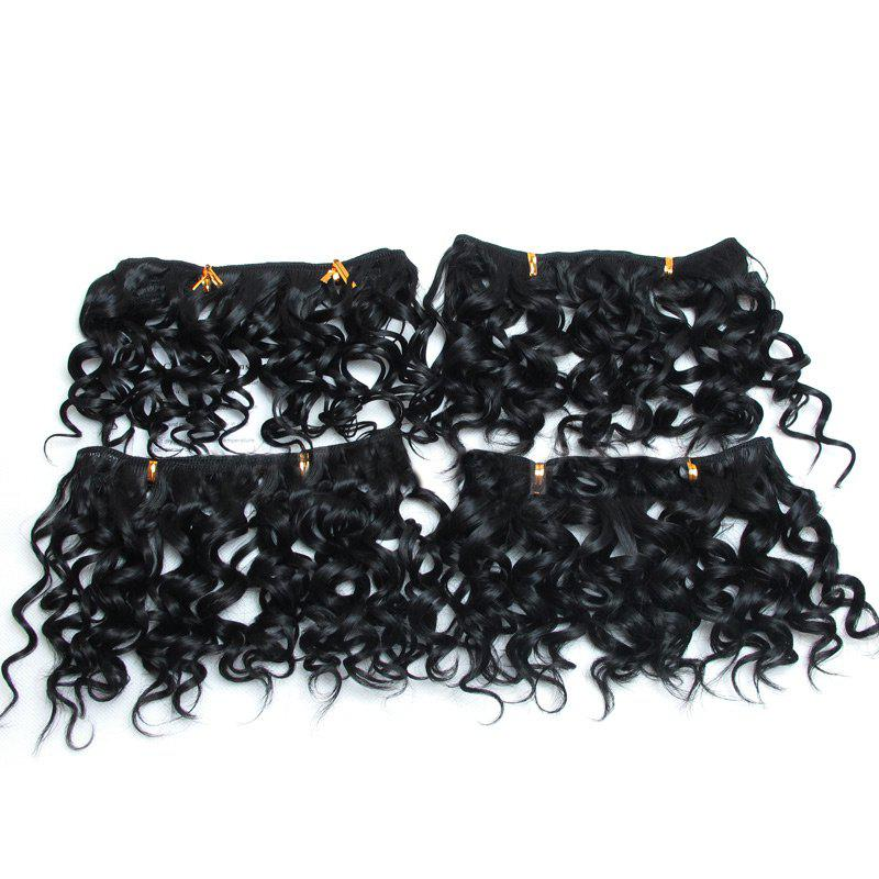 4Pcs Fluffy Short Water Wave Synthetic Hair Wefts - BLACK