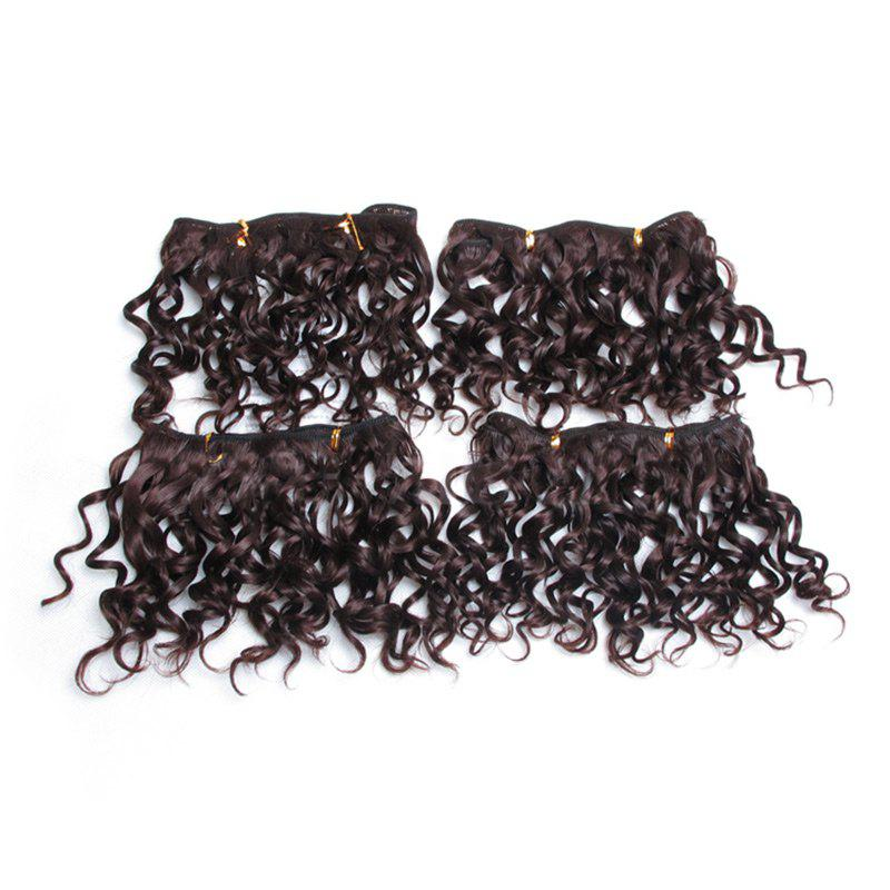 4Pcs Fluffy Short Water Wave Synthetic Hair Wefts - DEEP BROWN
