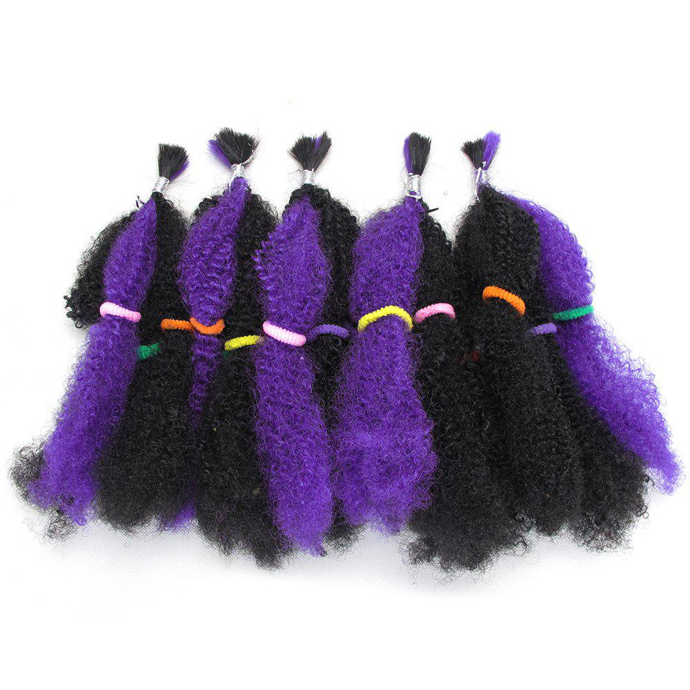 Long Fluffy Afro Curly Synthetic 5Pcs Hair Weaves - PURPLE