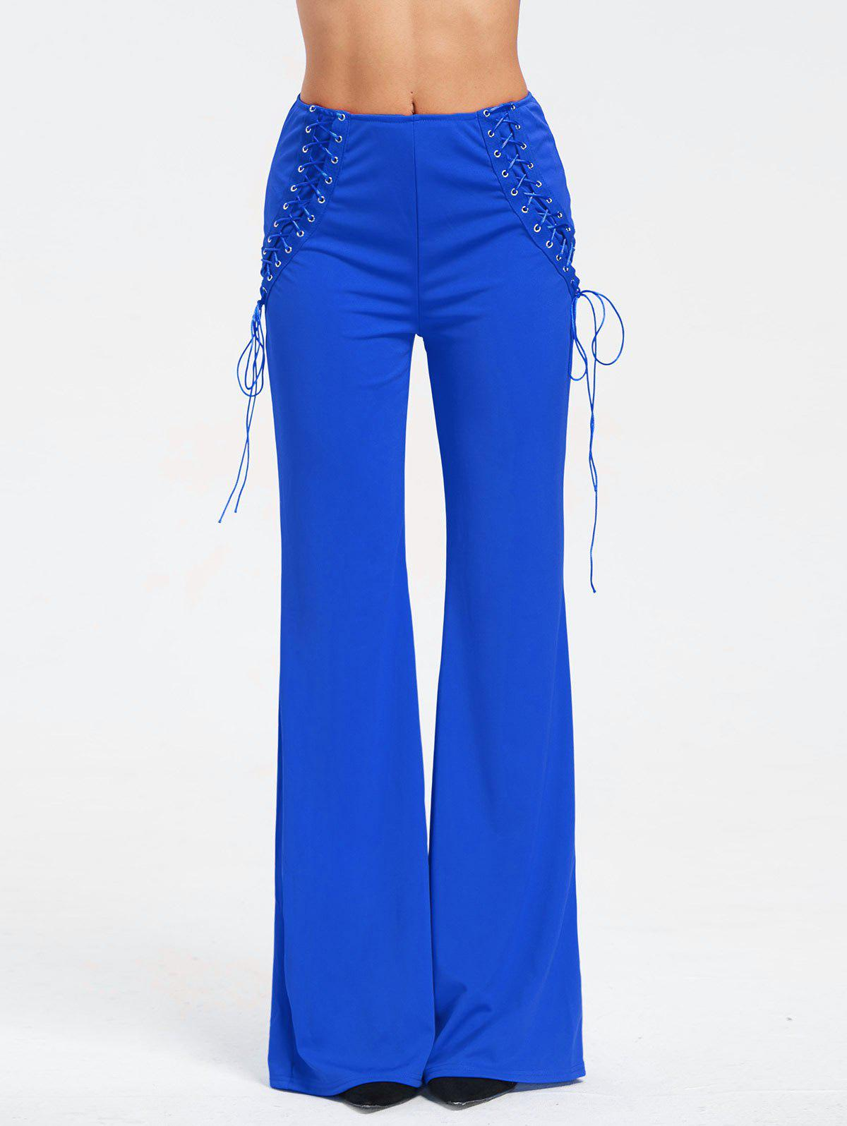 High Waist Criss Cross Lace Up Flare Pants - ROYAL S