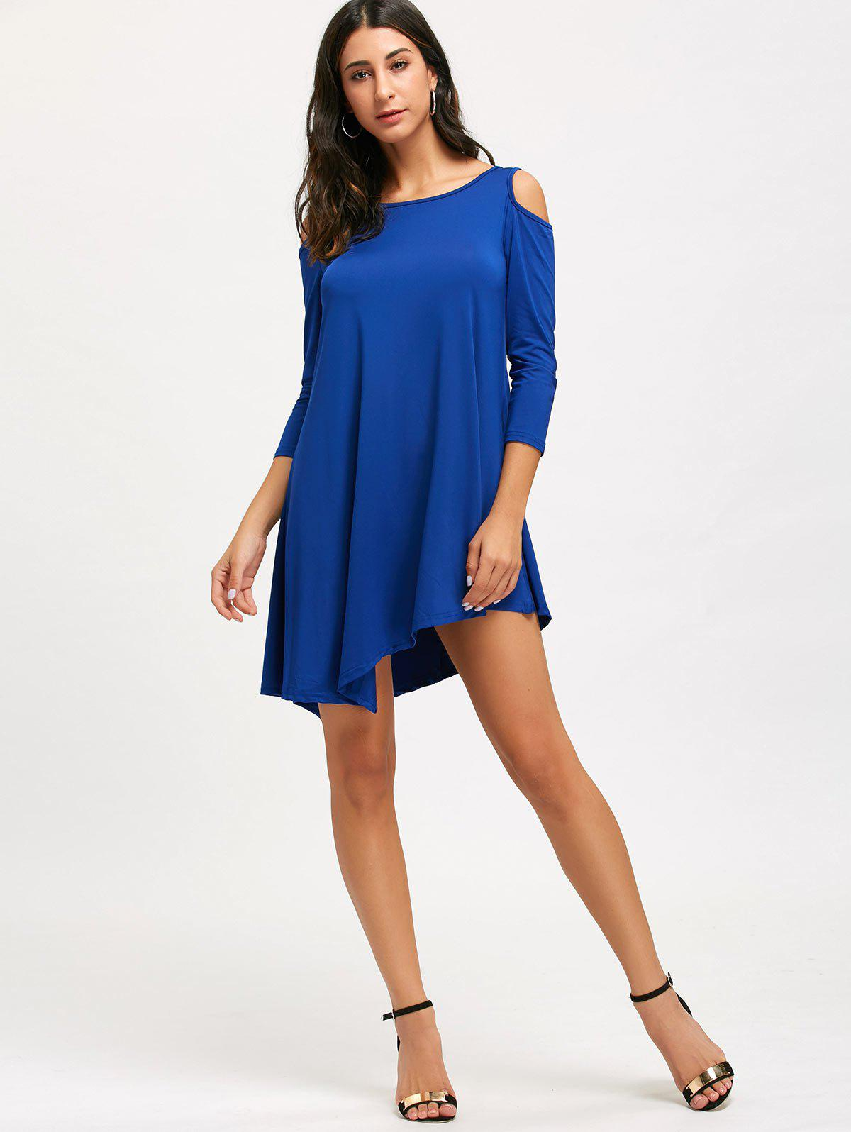 Cold Shoulder Tunic Mini T-shirt Dress - ROYAL M