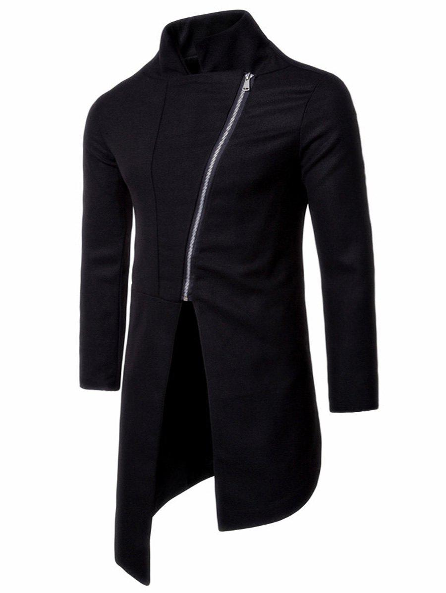 Stand Collar Asymmetrical Zipper Up Coat