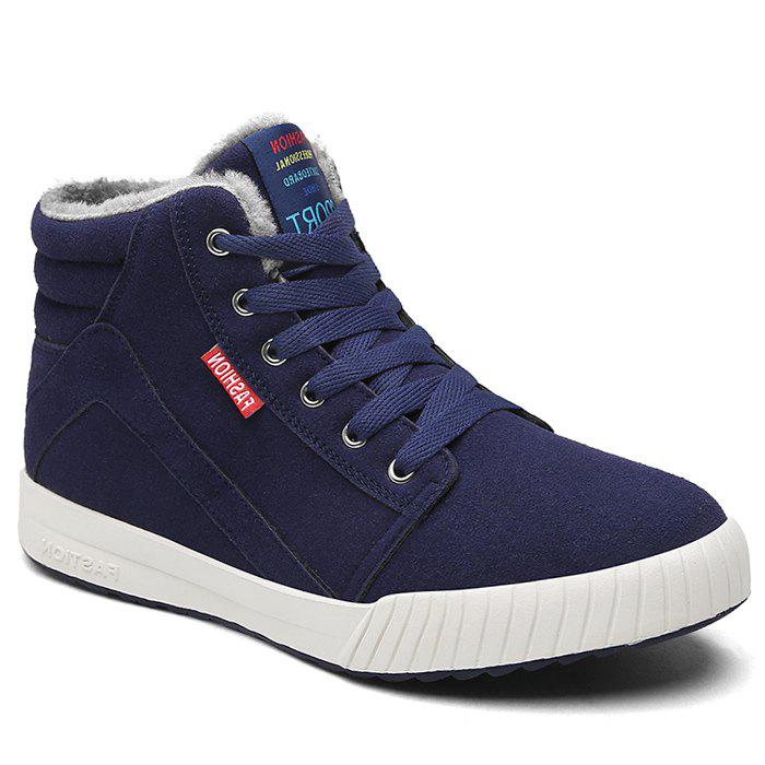 Letter Print High Top Warm Skate Shoes - DEEP BLUE 46