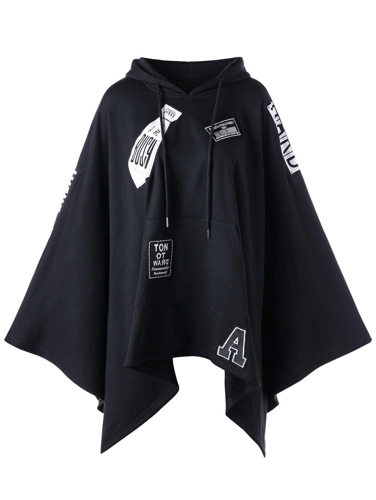 Hooded Asymmetrical Graphic Cape - BLACK L