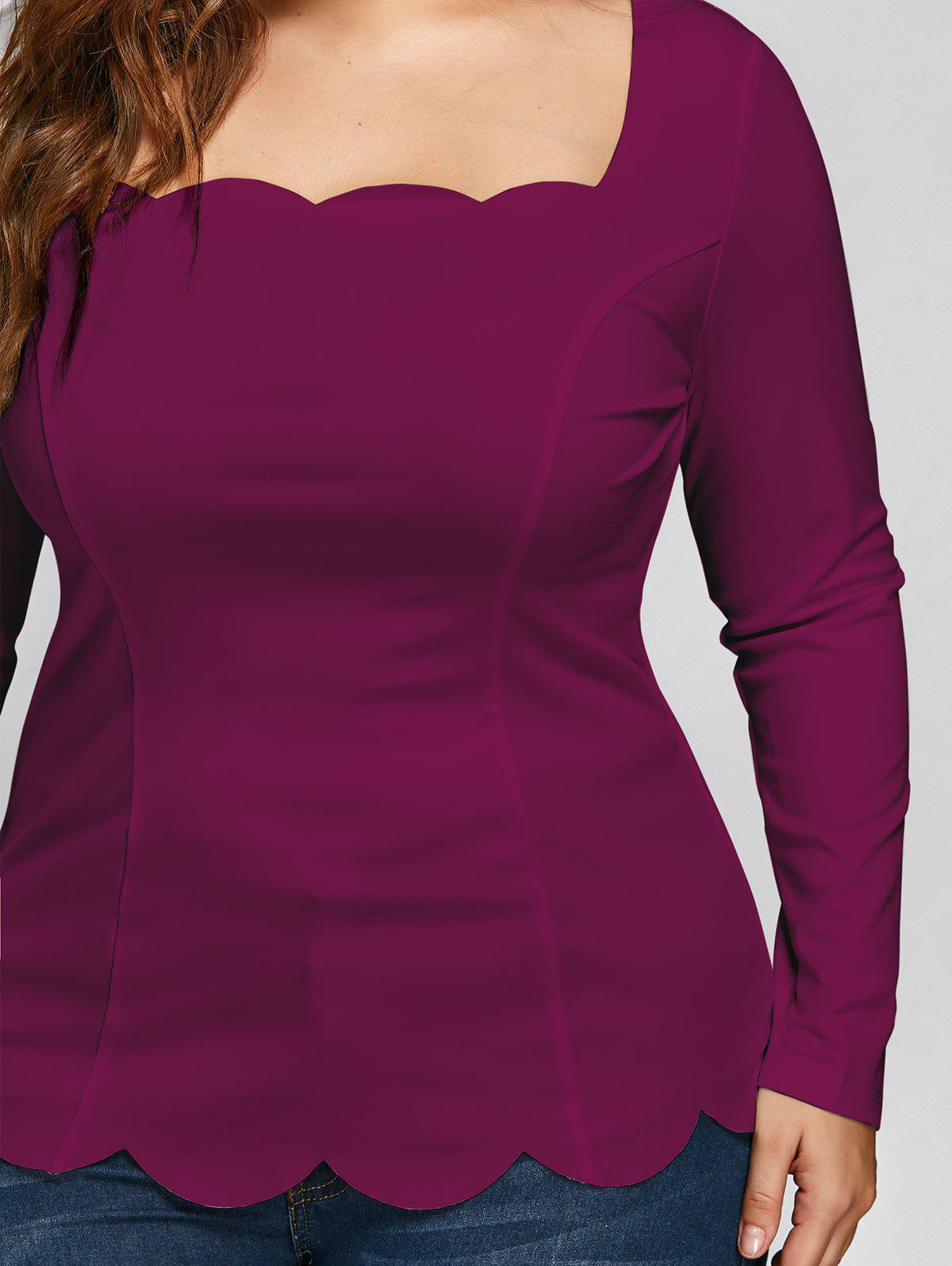 Plus Size Scalloped Square Neck Long Sleeve Top - WINE RED 2XL
