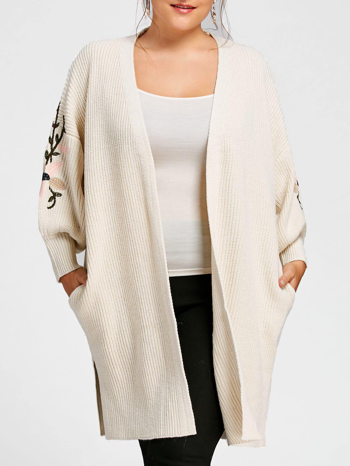 Plus Size Embroidered Long Sweater Coat with Pockets летняя шина toyo proxes t1 sport 285 30 r18 97y xl