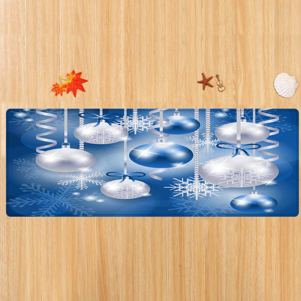 Christmas Baubles Snowflake Pattern Indoor Outdoor Area Rug - BLUE W24 INCH * L71 INCH