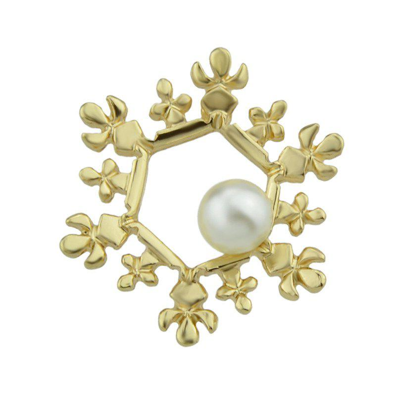 Christmas Faux Pearl Hexagon Snowflake Brooch - GOLDEN