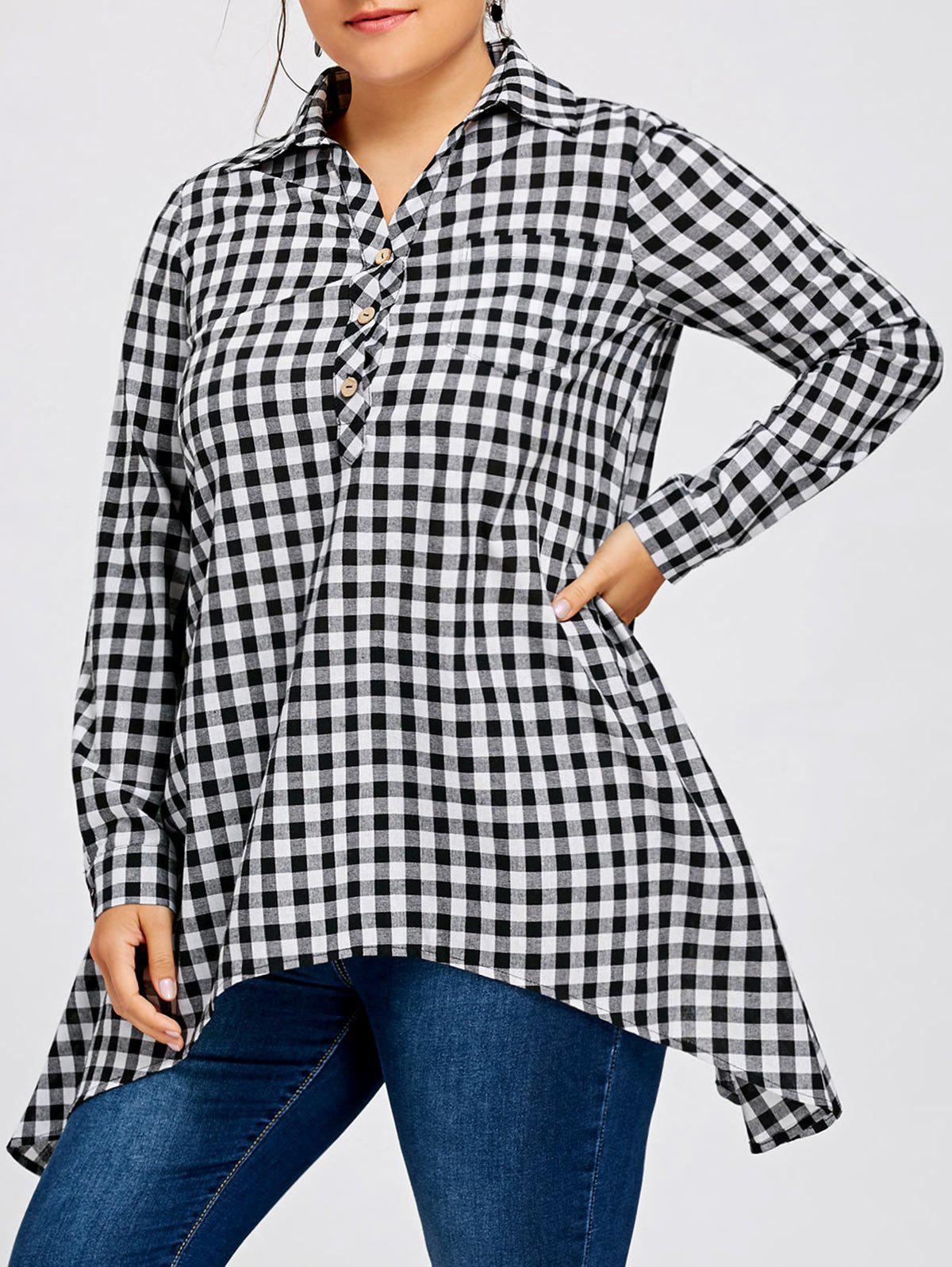 Plus Size Long Sleeve Plaid Asymmetric Shirt with Pocket - CHECKED 5XL