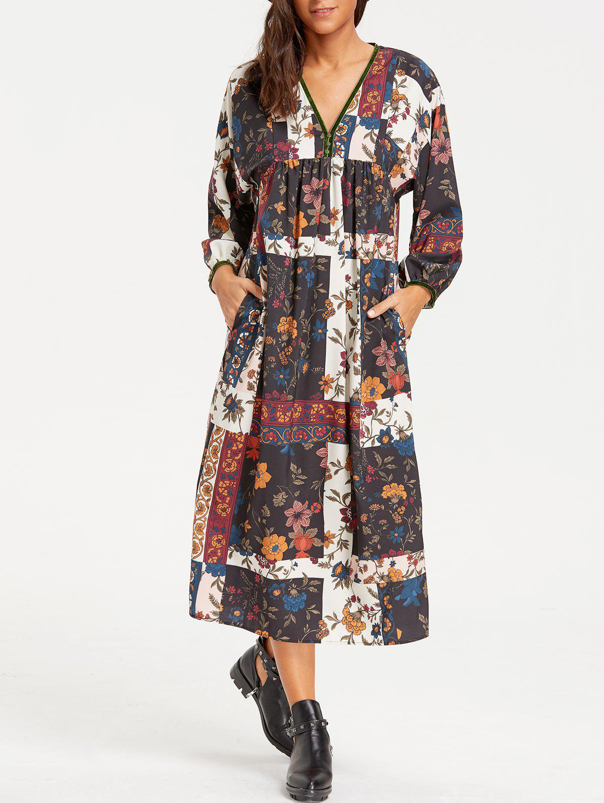 Robe à encolure en V et imprimé floral à carreaux - multicolore L
