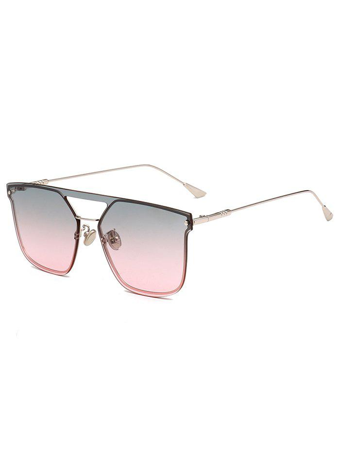 Anti UV Crossbar Decorated Metal Full Frame Sunglasses - LIGHT PINK