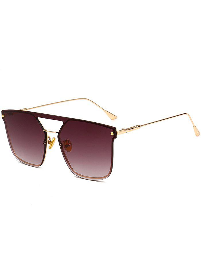 Anti UV Crossbar Decorated Metal Full Frame Sunglasses - GOLD FRAME/GREY LENS