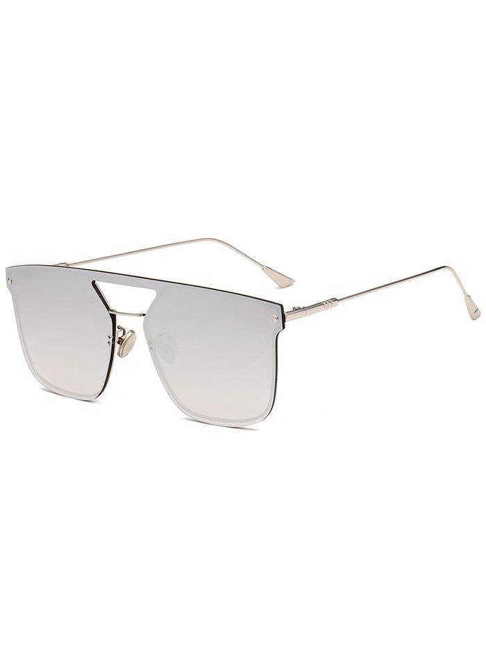 Anti UV Crossbar Decorated Metal Full Frame Sunglasses - REFLECTIVE WHITE COLOR