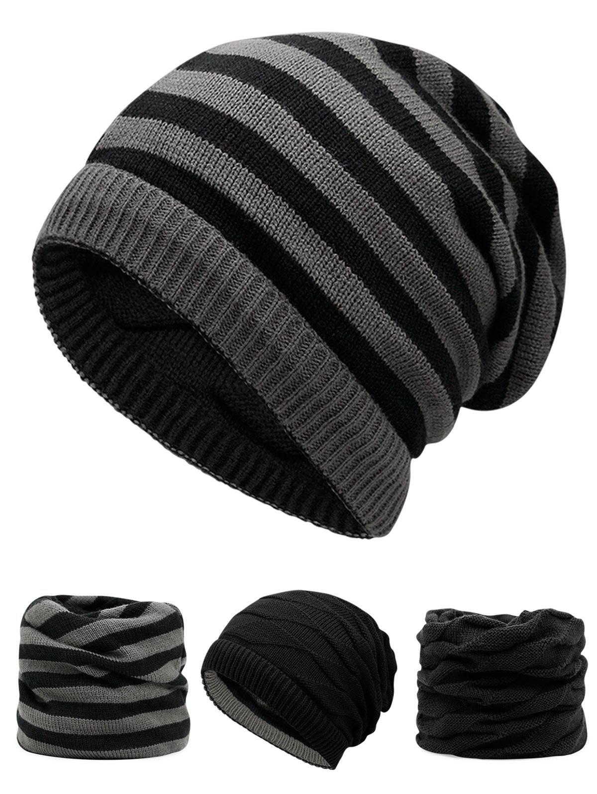 Ponytail Hole Decorated Lining Thicken Knit Beanie hot winter beanie knit crochet ski hat plicate baggy oversized slouch unisex cap