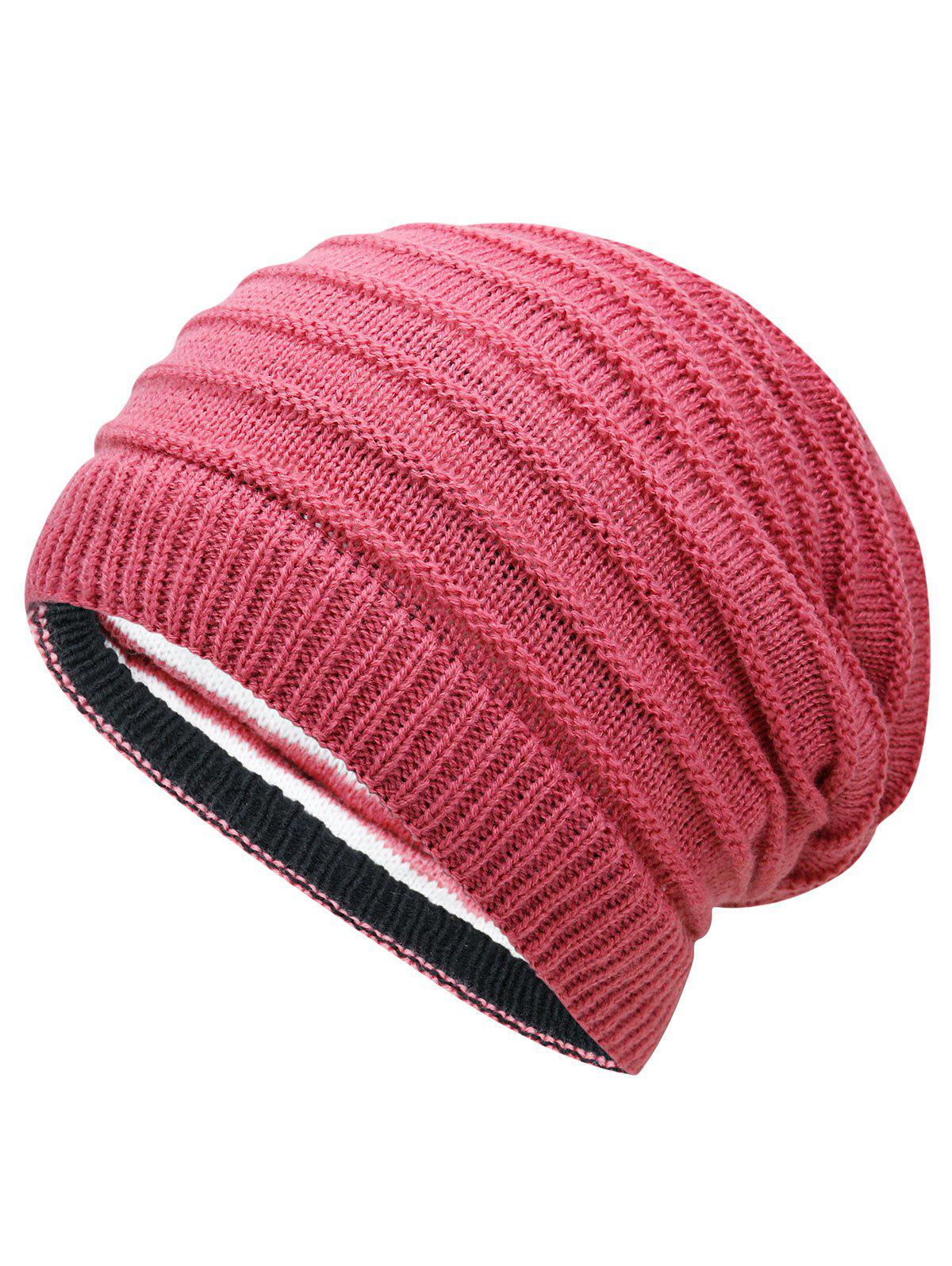 Open Top Decorated Reversible Crochet Knitted Beanie - WATERMELON RED