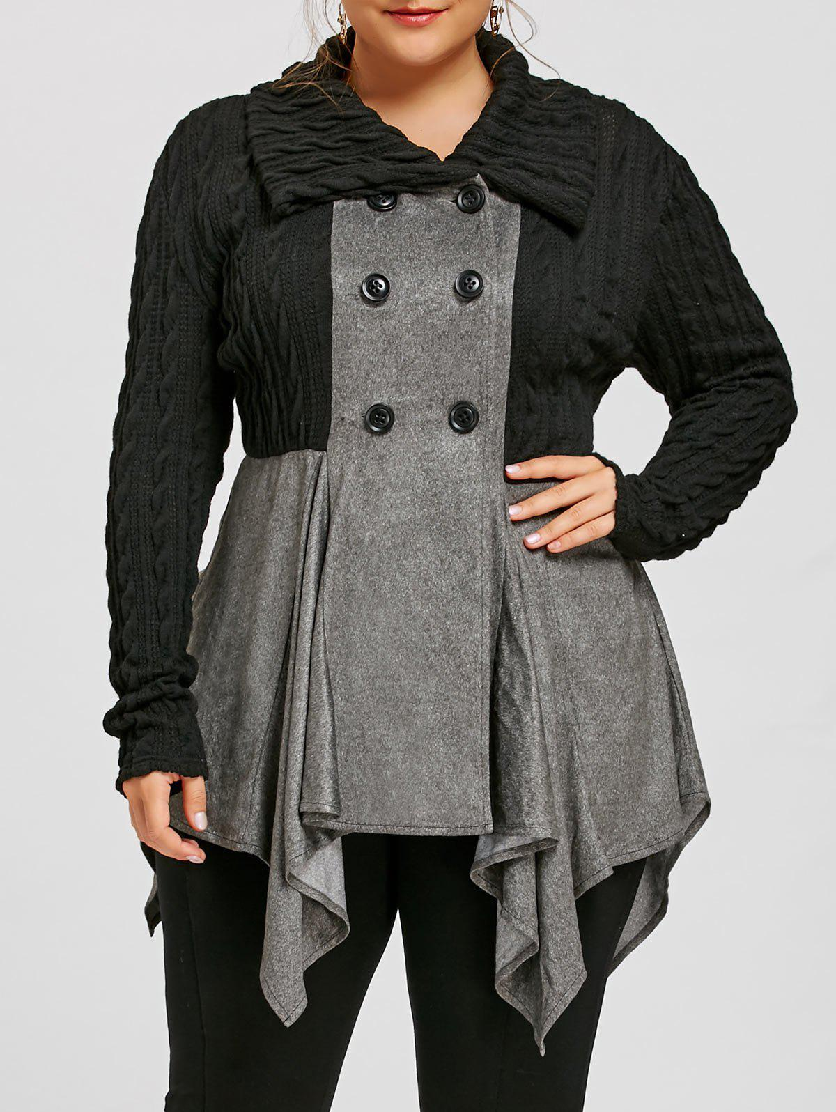 Plus Size Cable Knit Double Breasted Coat, Gray