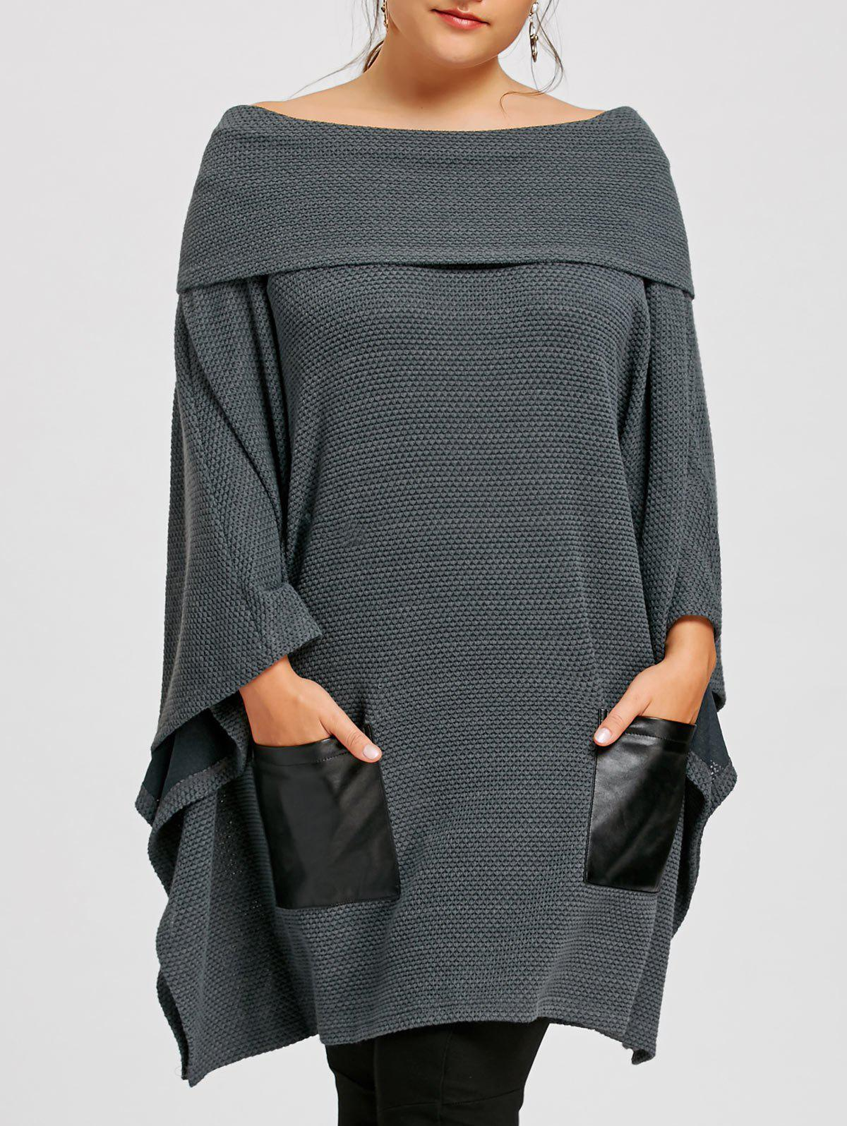 Plus Size Batwing Sleeve Off The Shoulder Top - GRAY 3XL