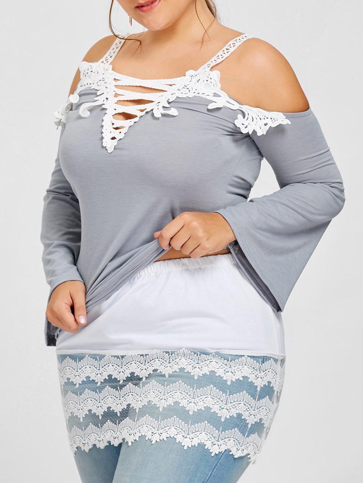 Plus Size Transparent Lace Trim Extender Skirt - WHITE 4XL