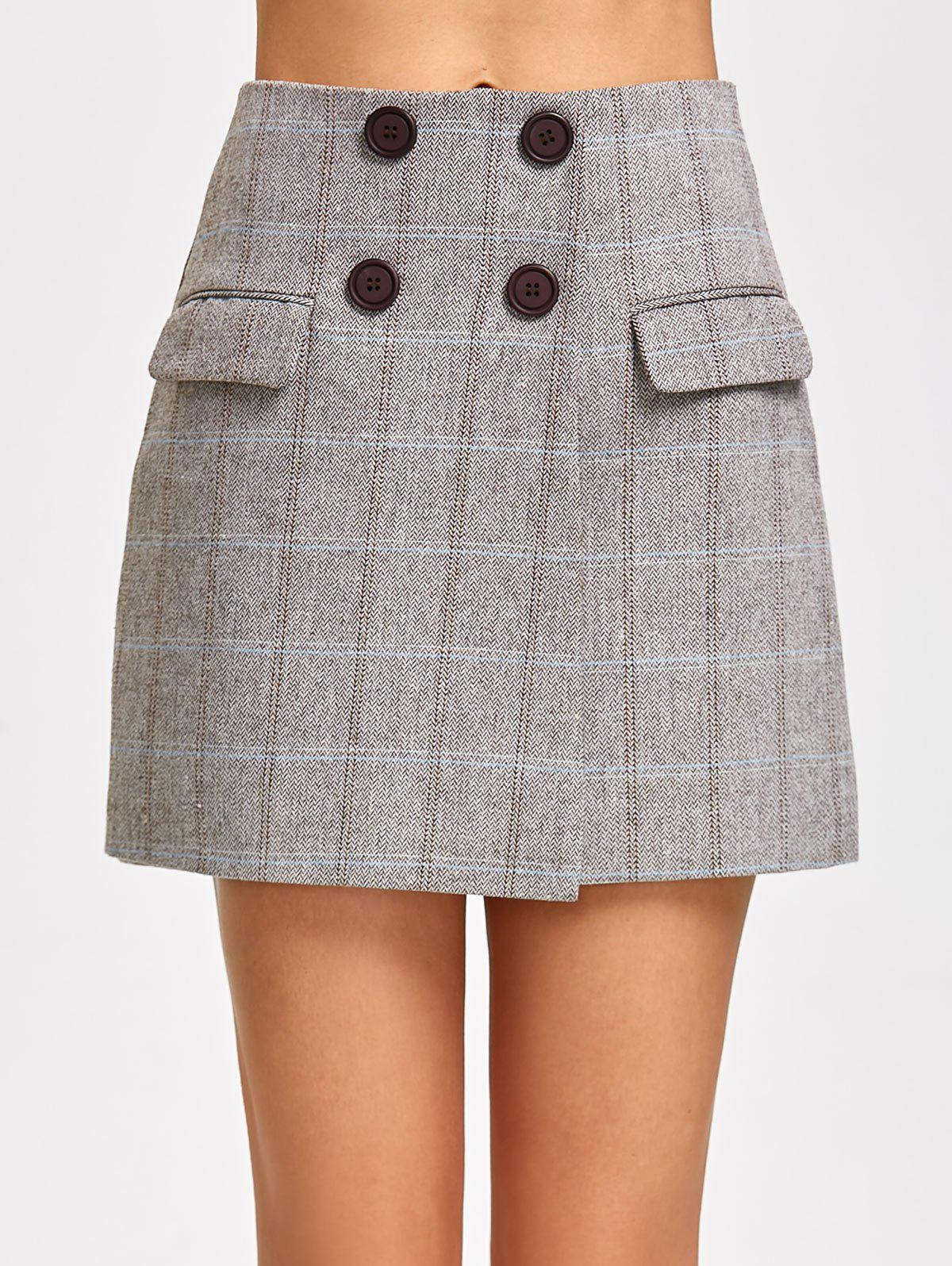 High Waist Double Breasted Mini Skirt - GRAY L
