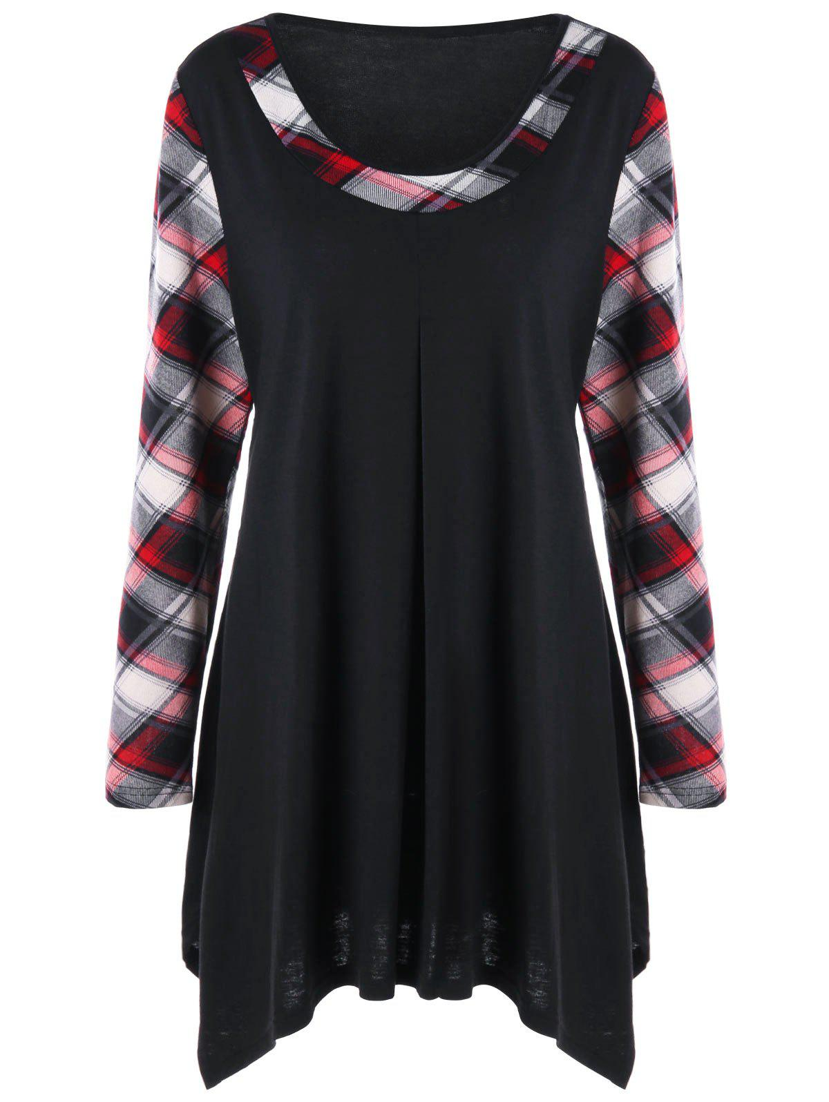 Plus Size Plaid Trim Tunic Tee plaid plus size tunic top