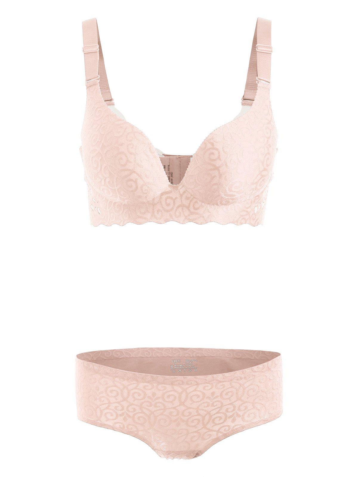 Jacquard Seamless Plus Size Bra Set - YELLOWISH PINK 2XL