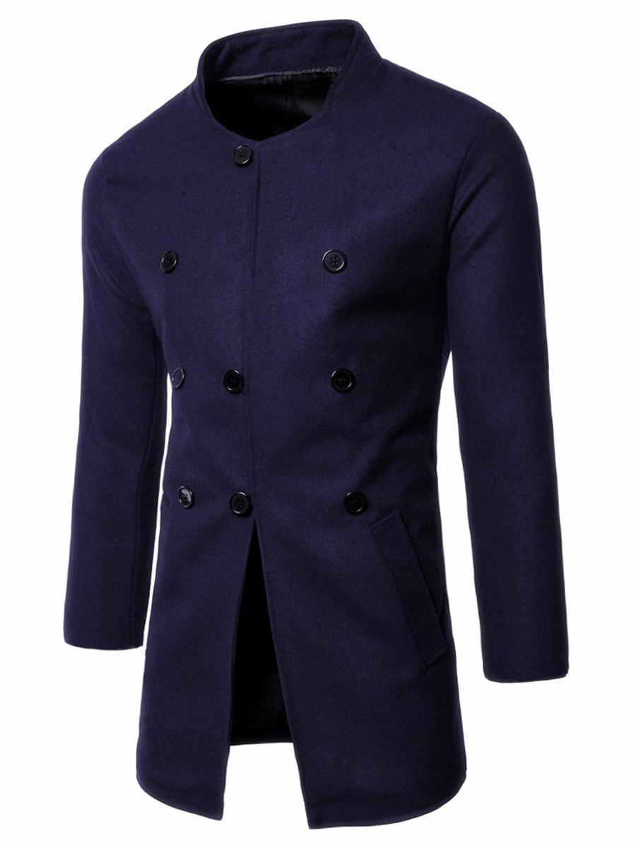 Wool Blend Single Breasted Stand Collar Coat - PURPLISH BLUE 2XL