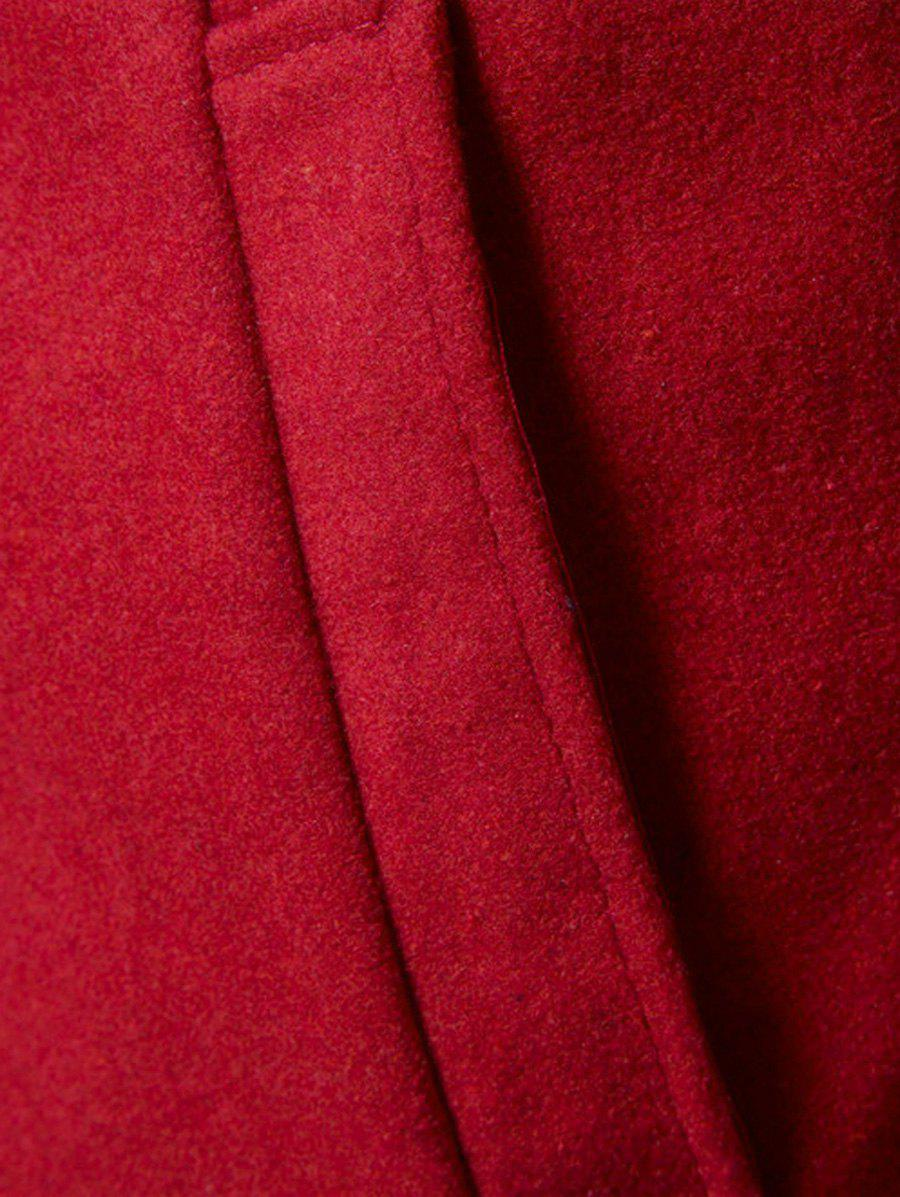 Wool Blend Single Breasted Stand Collar Coat - RED 2XL