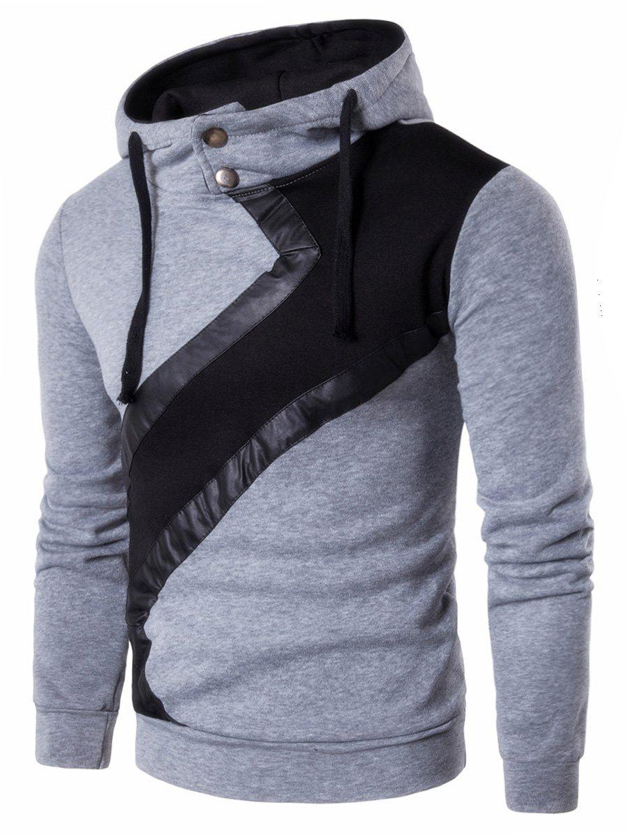 Color Block Faux Leather Insert Hoodie - LIGHT GRAY XL