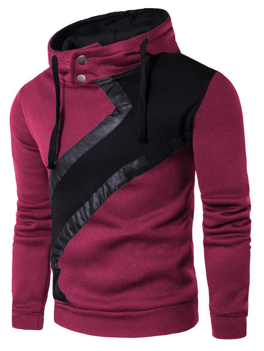 Color Block Faux Leather Insert Hoodie - PURPLISH RED 2XL