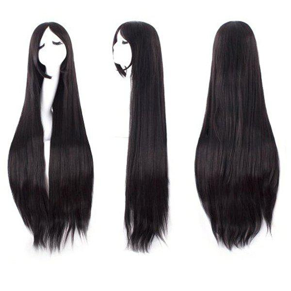 Ultra Long Inclined Fringe Straight Synthetic Party Wig - NATURAL BLACK