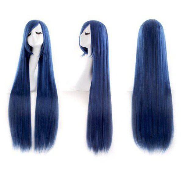 Ultra Long Inclined Fringe Straight Synthetic Party Wig - PEARL INDIGO BLUE