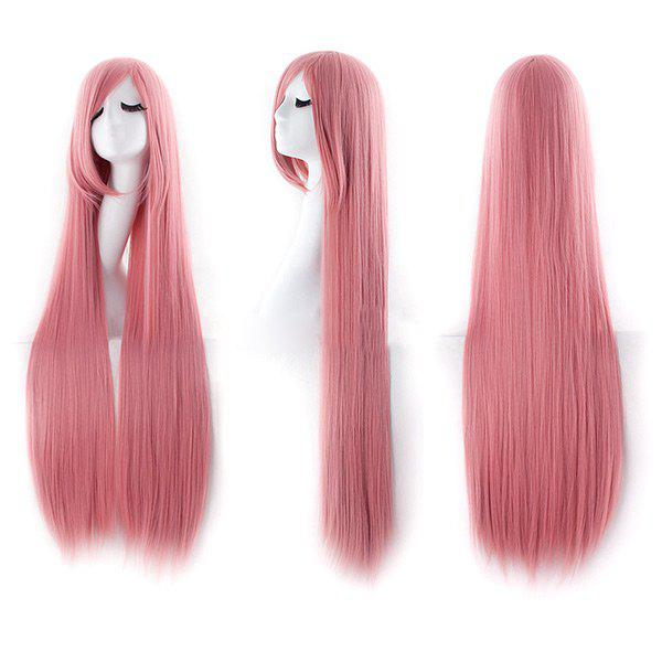 Ultra Long Inclined Fringe Straight Synthetic Party Wig - PINK