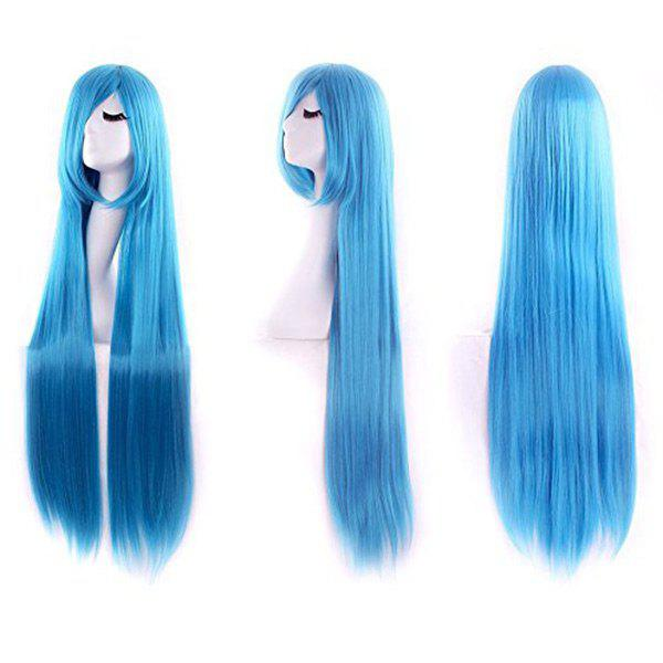 Ultra Long Inclined Fringe Straight Synthetic Party Wig - WINDSOR BLUE