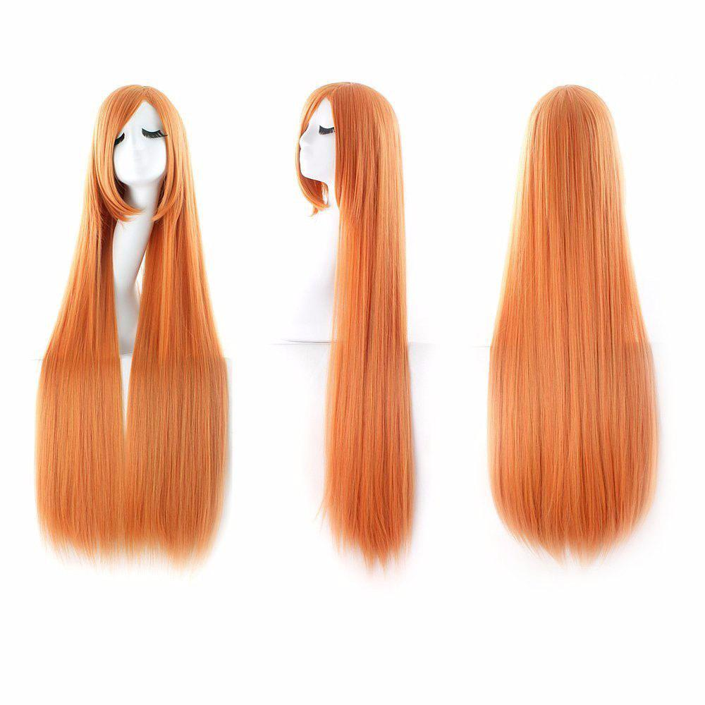 Ultra Long Inclined Fringe Straight Synthetic Party Wig - YELLOW