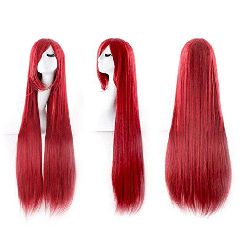 Ultra Long Inclined Fringe Straight Synthetic Party Wig - RED
