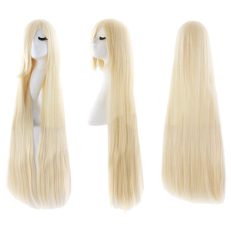 Ultra Long Inclined Fringe Straight Synthetic Party Wig - LIGHT GOLD