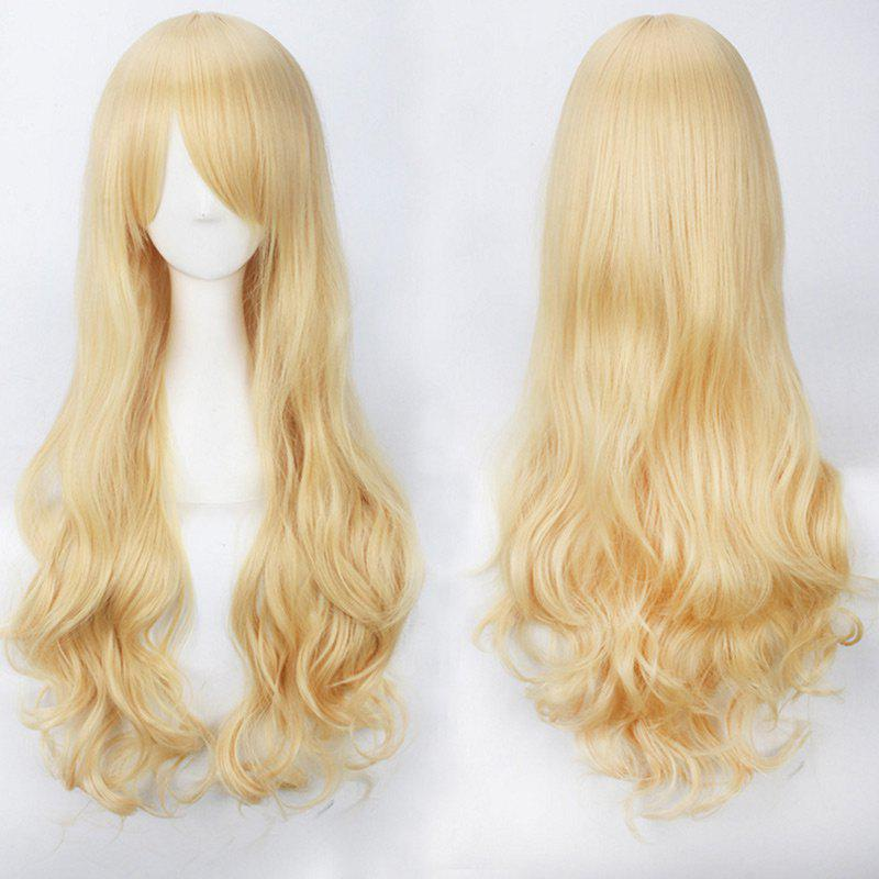 Ultra Long Inclined Bang Fluffy Curly Synthetic Party Wig - GOLDEN