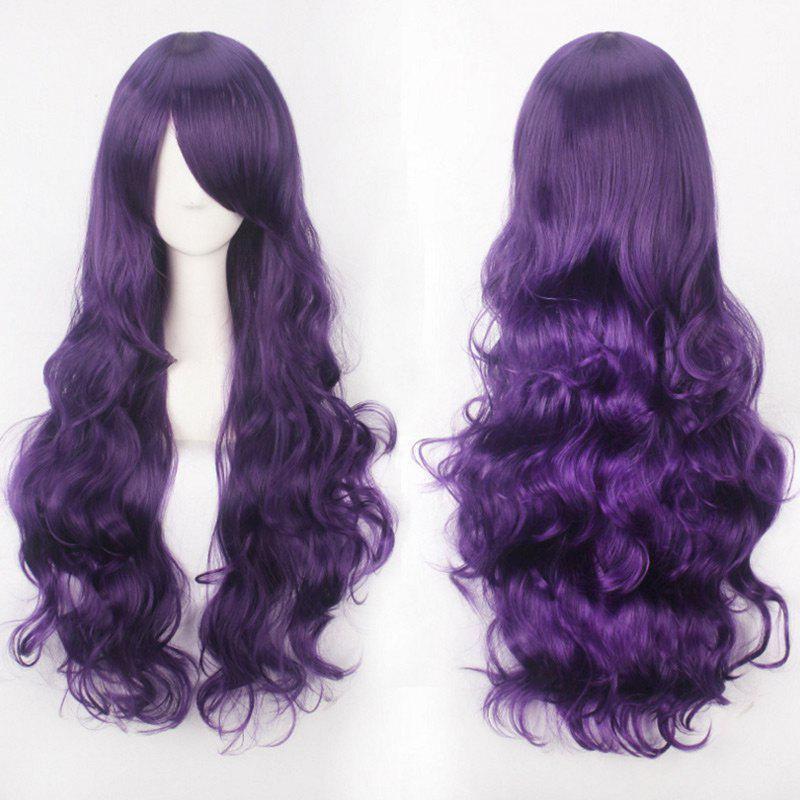Ultra Long Inclined Bang Fluffy Curly Synthetic Party Wig - CONCORD
